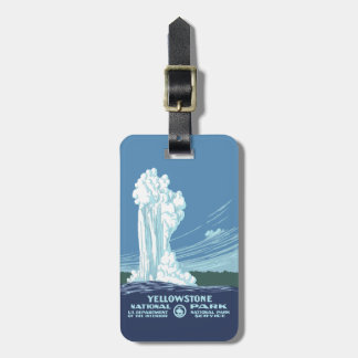 Old  Faithful and Yellowstone National Park Tags For Bags