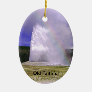 Old Faithful in Yellowstone National Park Ceramic Ornament
