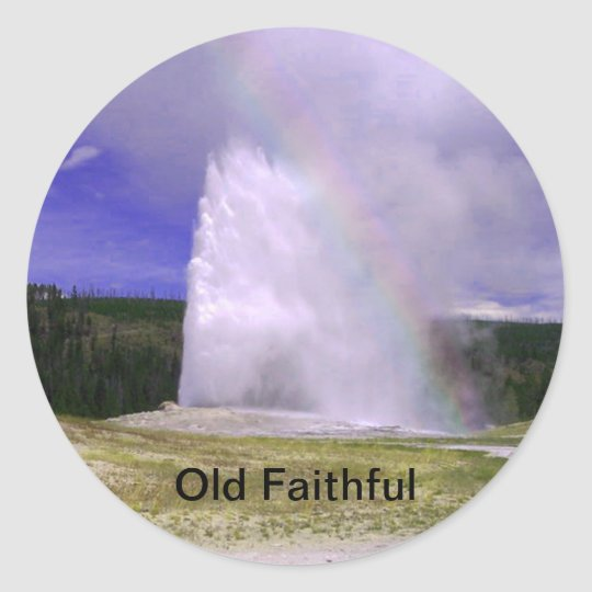 Old Faithful in Yellowstone National Park Classic Round Sticker