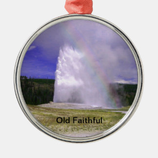 Old Faithful in Yellowstone National Park Round Metal Christmas Ornament