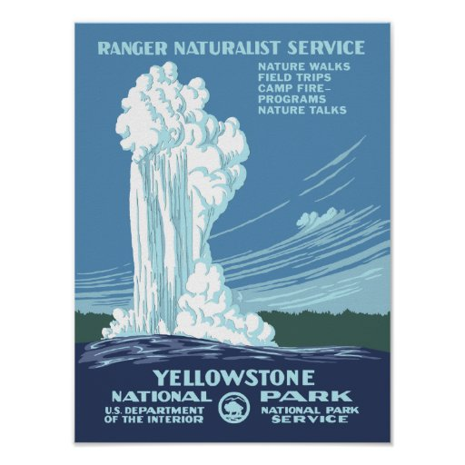 Old Faithful Vintage Travel Poster