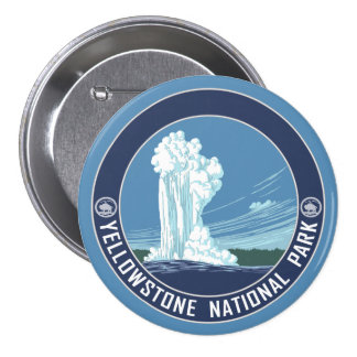 Old Faithful - Yellowstone National Park Button