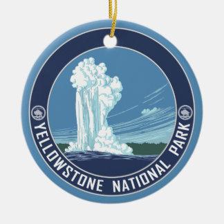Old Faithful - Yellowstone National Park Souvenir Double-Sided Ceramic Round Christmas Ornament