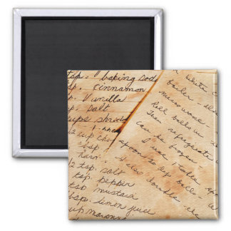 old family recipes 2 inch square magnet