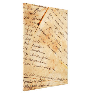 Old Family Recipes Canvas Print