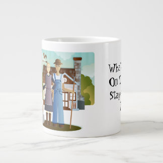 "Old Farm Couple Says ""What Happens On The Farm..."" Large Coffee Mug"