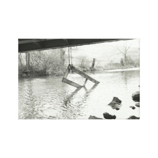 Old Farm Gate Black and White Photography Canvas Print