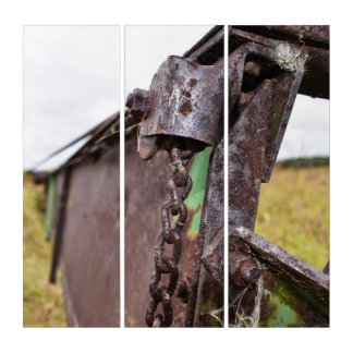 old farm machinery triptych