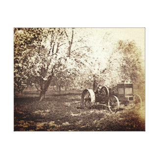 Old Farm Tractor Antique Photo Canvas Print