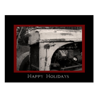 Old Farm Tractor Country Happy Holidays Postcard