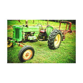old farm tractor on canvas