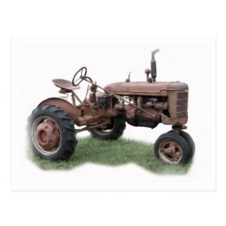 Old Farm Tractor Postcard