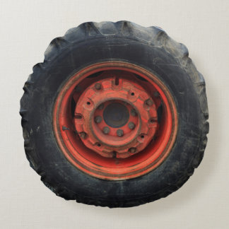 Old Farm Tractor Tire Round Pillow