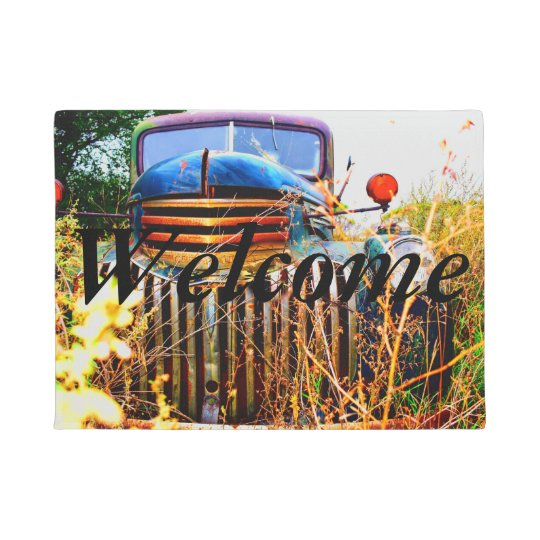 Old Farm Truck Welcome Mat Zazzle Com