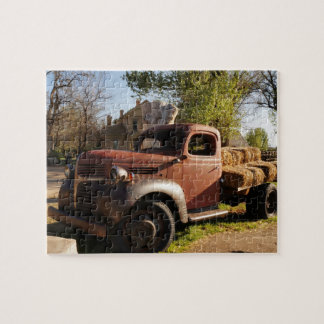 Old farm truck with hay bales jigsaw puzzle