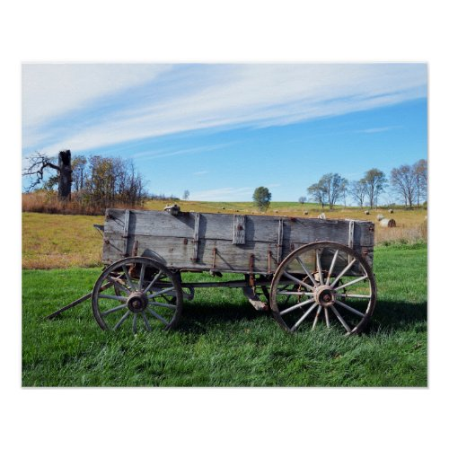 Old Farm Wagon in Hay Field Poster