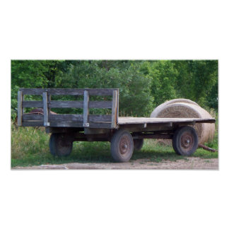 Old Farm Wagon with Hay Print