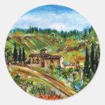 OLD FARMHOUSE IN CHIANTI -TUSCANY CLASSIC ROUND STICKER