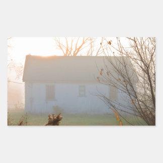 Old Farmhouse in Fog at Sunrise Rectangular Sticker