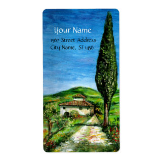 OLD FARMHOUSE IN TUSCANY CUSTOM SHIPPING LABELS