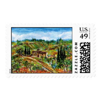 OLD FARMHOUSE IN TUSCANY STAMP