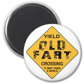 Old Fart Crossing 2 Inch Round Magnet