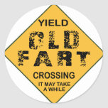 Old Fart Crossing Classic Round Sticker