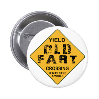Old Fart Crossing Pinback Button