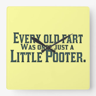 Old Fart - Little Pooter Square Wall Clock