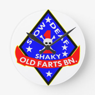 Old Farts Battalion Slow Shaky Deaf Round Clock