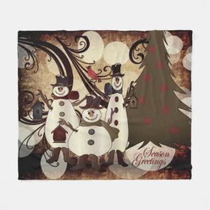 Make your own old fashioned christmas greetings fleece blanket old fashion abstract snowmen season greetings fleece blanket m4hsunfo