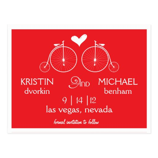 Old Fashion Bicycles | Save the Date Postcard