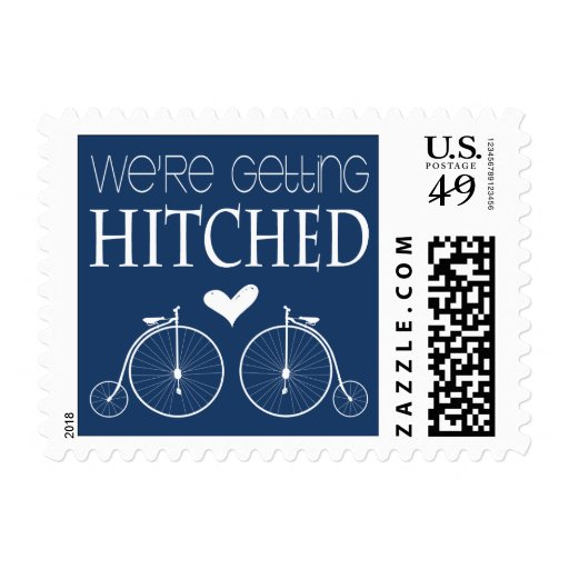 Old Fashion Bicycles   We're Getting Hitched Postage Stamps