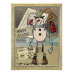 Old Fashion Blue Postage Snowman Poster
