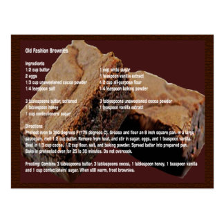 Old Fashion Brownies Recipe Card Post Cards