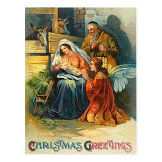 Old Fashion Christmas Nativity Postcard