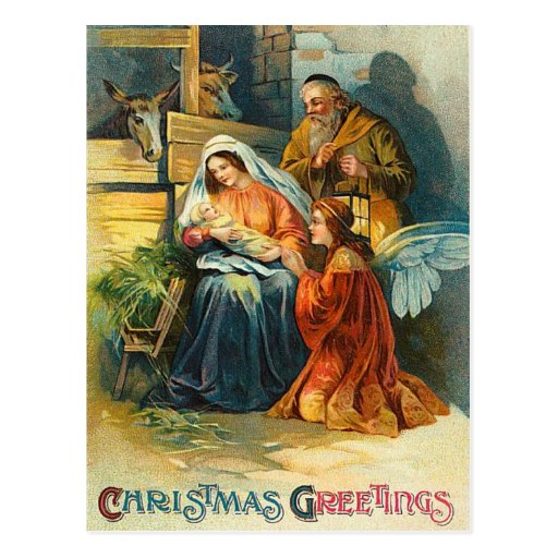 Old fashion christmas nativity postcard zazzle