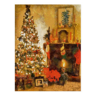 Old Fashion Christmas Tree And Fireplace Post Card