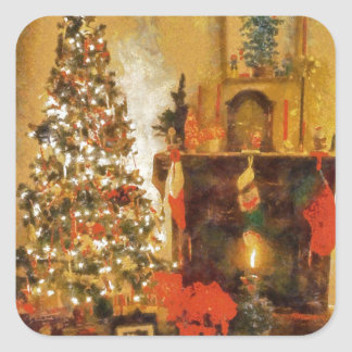Old Fashion Christmas Tree And Fireplace Square Stickers
