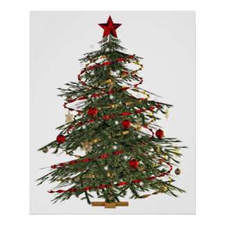 old fashion christmas tree poster
