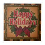 Old Fashion Christmas Wreath Small Square Tile