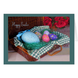 Old Fashion Easter Basket Card with Colorful Eggs.