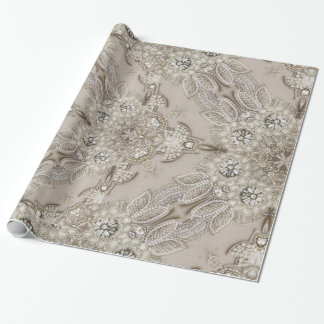 old fashion glamour rhinestone pearl art deco wrapping paper