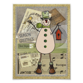 Old Fashion Green Postage Snowman Poster