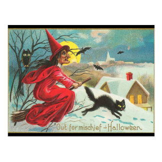 old fashion halloween witch flying black kitty postcard - Old Fashion Halloween