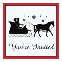 Old-Fashion Horse-Drawn Sleigh with Snowflakes Invitation
