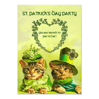 OLD FASHION IRISH CATS ,ST.PATRICK'S DAY PARTY 5X7 PAPER INVITATION CARD