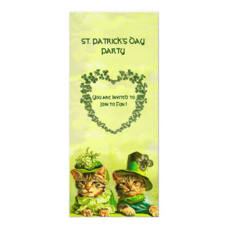 OLD FASHION IRISH CATS ,ST.PATRICK'S DAY PARTY CARD