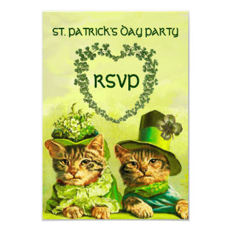 OLD FASHION IRISH CATS,ST.PATRICK'S DAY PARTY RSVP CARD