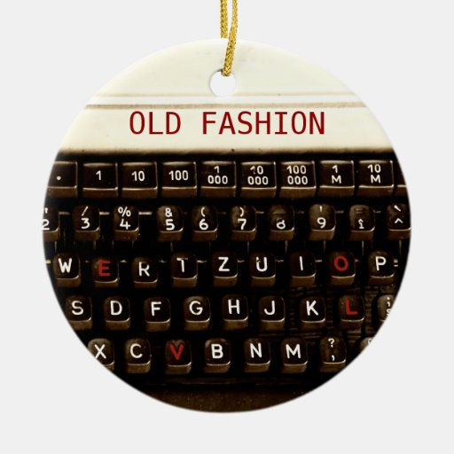 Old Fashion Love - Typewriter Machine Double-Sided Ceramic Round Christmas Ornament
